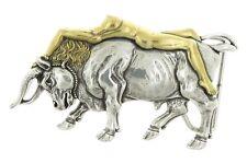 Lady Bull Western Antique Gold/Silver Metal Belt Buckle