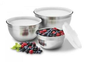 Cuisinart CTG-00-SMB Stainless Steel Mixing Bowls with Lids, Set of 3, New