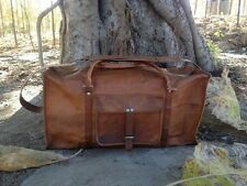 "24"" New Men's genuine Leather large vintage duffle travel gym weekend bag Squre"