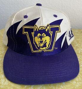 Vintage Washington Huskies Shark Tooth Snapback Hat 90s Logo Athletic 7 EUC