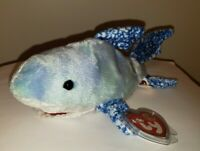 """Ty Beanie Baby - CHOMPERS the Shark 7.5"""" (August 2004 BBOM) MINT with MINT TAGS"""
