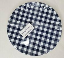 Tommy Bahama Blue & White Gingham Checkered Melamine Dinner Plates Set of 8