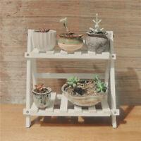 35*35*17cm 2Tier Pine Wooden Plant Stand Indoor Outdoor Garden Flower Pot Shelf