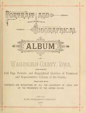 1887 WASHINGTON County Iowa IA, History and Genealogy Ancestry Family DVD B38