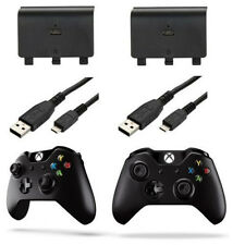 (2 pack) 1200mAh Rechargeable Battery Pack for Xbox One Controller + 2x 2M Cable