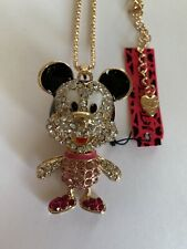 Pink Rhinestone Cartoon Mouse MICKEY Crystal Betsey Johnson Necklace-BJ50056