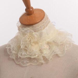 Retro Elizabethan Victorian Yellow Neck Ruff Ruffled Detachable Lace Collar