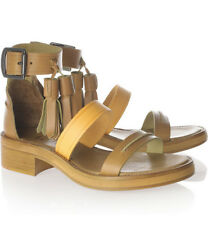 [Acne] Ambrosia Tasseled Leather Sandals Open Toe Ankle Strap EU38 Pre-Owned A