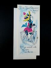 #J388- Unused Marjorie M. Cooper Mother's Day Greeting Card Cat Riding Bicycle