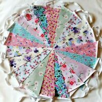 40ft Fabric Bunting Clearance Sale Wedding Shabby Chic 40ft 12m Handmade