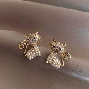 Fashion 18k Gold Animal Cat Pearl Zircon Earrings Stud Women Wedding Party Gift