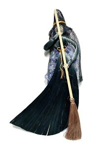 """Vintage Straw Witch With Broom Spooky Halloween Decoration 11"""" Tall"""