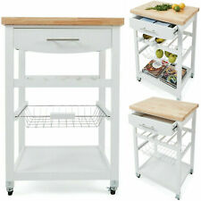 Wooden Kitchen Food Utility Trolley Cart Drawer 2 Shelves Cabinet Rack White AU