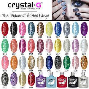 CRYSTAL-G LONDON - DIAMOND GLITTER - UV LED SOAK OFF SPARKLY GEL NAIL POLISH