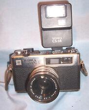 Yashica Mg-1 35mm Film Rangefinder Photo Camera 45mm 1:2.8 Lens w/ Cs-14 Flash