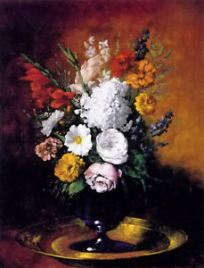 Oil painting clement ribot - vase of flowers Classical still life hand painted