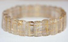 Fine Bracelet  Natural Gold Rutilated Quartz  Beads Golden Rutile Top Quality