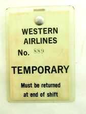 Original Western Airlines Temporary Access Badge
