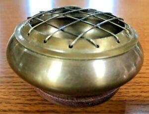 """Dark Brass Censer Burner 3"""" with Screen Top & Wooden Coaster"""