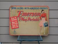 >Rare 1940's EMERSON RADIO STORE DISPLAY SIGN 3-Way Portable with Hip Woman!!