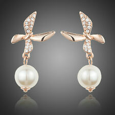 Rose Gold Plated Stellux Austrian Crystal Dancing Butterfly With Artifical Pearl