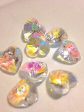 8 Beautiful Crystal Cut Glass Heart Shape Bead - Clear AB Colour -14mm
