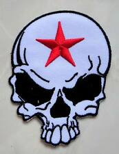 Red Star White Skull Punk Rock Biker Embroidered Iron on Patch Free Postage