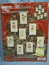Set 8 Janlynn Folk Art Snowmen Ornaments Counted Cross Stitch Kit 3
