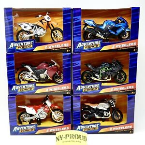 6 ADVENTURE FORCE 2 WHEELERS Bike/ Motorcycle 1/18 SCALE Full Collection 6 Pack
