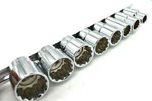 British Whitworth Imperial Socket 1/2 incg drive Set 8pc 12 Point SS099 Elite