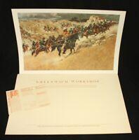 Vtg Frank Mccarthy Western Art Print Retreat to Higher Ground Signed +Folder COA