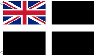 Cornish Flag Ensign 5ft x 3ft Cornwall St Piran Kernow 75D 100% Polyester Flags