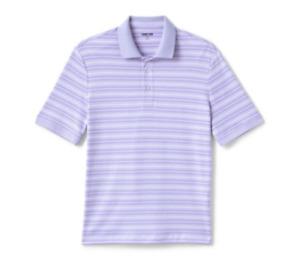 Lands End LARGE Tall Short Sleeve Jacquard Super Soft Supima Polo Shirt Lavender