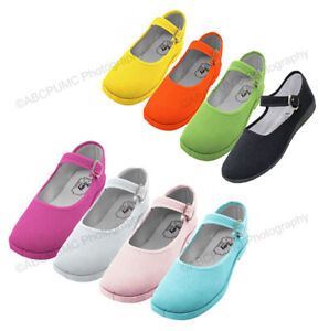 Womens Mary Jane Shoes Cotton Upper Flat Lolita Round Toe Ballet Colors Sizes