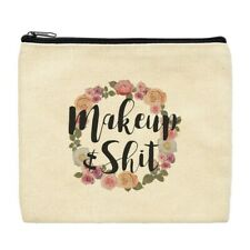 Canvas Toiletry Bag Makeup & Sh-t Funny Cosmetic Bag Floral Small Makeup Bag
