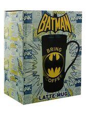 BATMAN BRING COFFEE TALL LATTE MUG RETRO DC COMICS CERAMIC CUP BOXED LOGO KNIGHT
