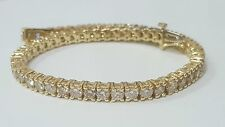 7.00 ct ROUND CUT DIAMOND TENNIS BRACELET 14K YELLOW GOLD F-VS1 CERTIFIED