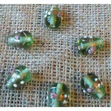 10 HANDMADE INDIAN LAMPWORK GLASS BEADS ~ 18mm Light Green Drops ~ 19