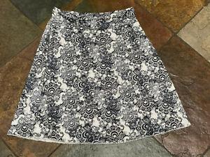 0621 TRANQUILITY Med Colorado Clothing Black White & Gray Paisley Skirt B