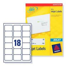 AVERY J8161-100 INKJET PRINTER LABELS 18 PER A4 SHEET