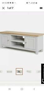 Roseland Grey Large TV Cabinet Stand 120cm Solid Wood Television Table Unit