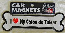 "Dog Magnetic Car Decal - Bone Shaped - I Love My Coton Del Tulear - 7"""