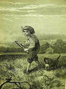 Bird Hunting Shooting LITTLE BOY and DOG w BOW & ARROW 1870 Antique Print Matted