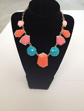 Multicolor Geometric Chunky Necklace 18K Gold Plated Bib