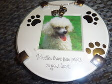 """POODLE PICTURE FRAME 4.5"""" X 4.5""""  WITH POODLE CHARM NEW"""