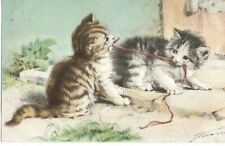 VINTAGE ART postcard:  KITTENS PLAYING TUG 'O' WAR WITH A SHOELACE