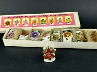 COMMODORE Japan Vintage Flower Place Card Holders Ceramic Set of 8 in Orig Box