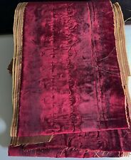 Antique Distressed Burgundy Silk Velvet Fragment VV800