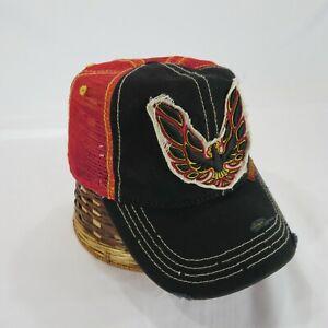 GM Pontiac Firebird Patch Logo Licensed Mesh Back Snapback Hat Cap Distressed
