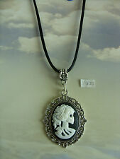 """Gothic Steampunk Skull Skeleton Lady Cameo Charm Long 30"""" Black Cord Necklace"""